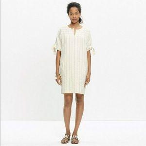 Madewell | Tie Sleeve Cotton Stripe Shift Dress Sm